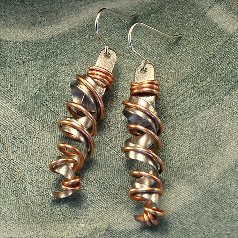 Wire wrapped twirly stainless steel earrings