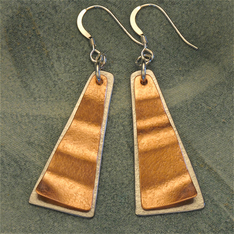 Triangular two-tone earrings