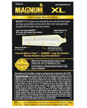 Trojan Magnum Xl Lubricated Condom - Box Of 12