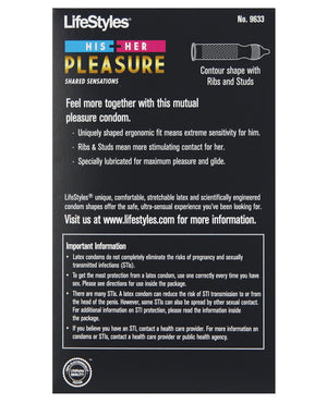 Lifestyles His & Her Pleasure Condoms - Pack Of 12