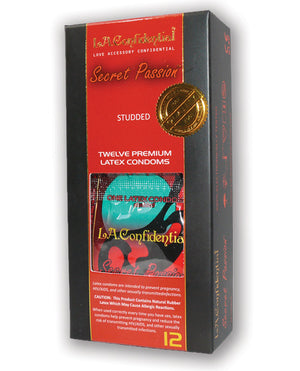 L.a. Confidential Secret Passion Studded Condoms - Pack Of 12