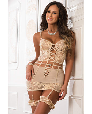 Floral Embroidered Lace Sheer Garter Dress W-side Zippers & Leg Garters Apricot Beige O-s