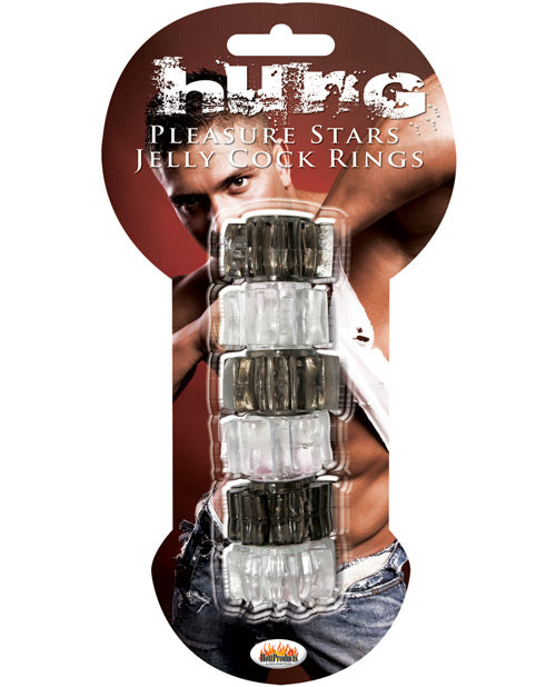 Hung Pleasure Stars Jelly Cock Rings - Black-clear