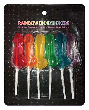 Rainbow Dick Suckers - Asst. Colors-flavors Pack Of 6