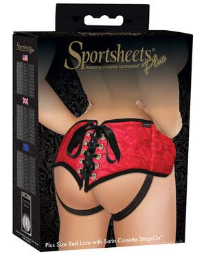 Plus Size Lace W-satin Strap On Harness - Red