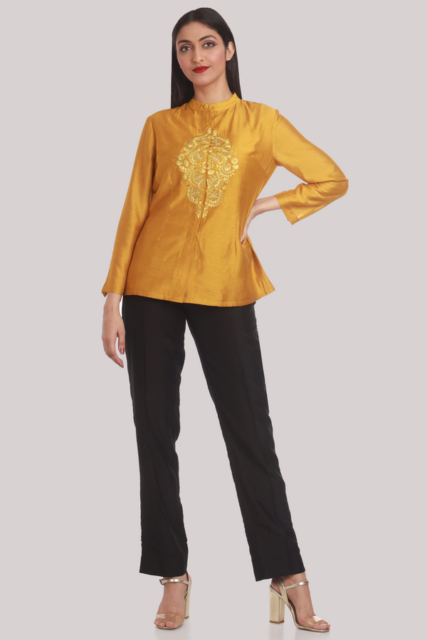 Mustard Chanderi Shirt With Silk Embroidery
