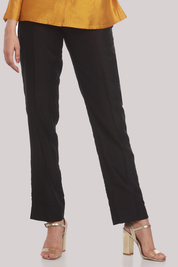 Black Chanderi Narrow Bottom Trouser