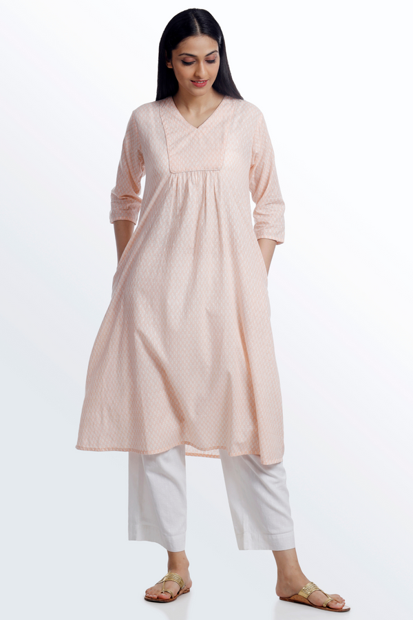 Geo Peach Flared Kurta
