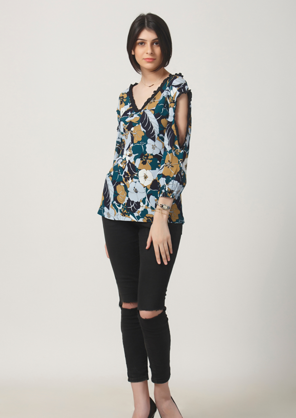 Blue Jungle Cut Out Top
