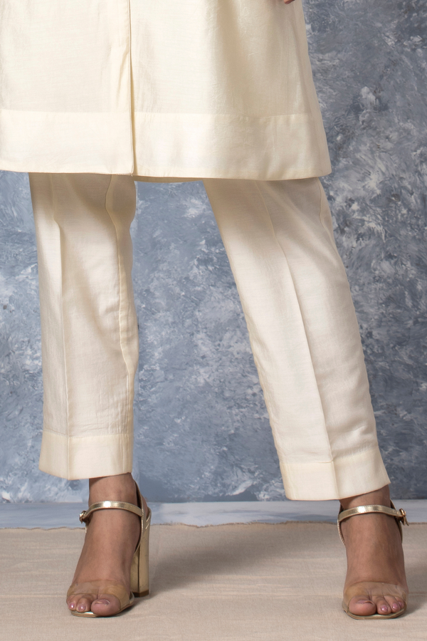 Off White Chanderi Narrow Bottom Trouser