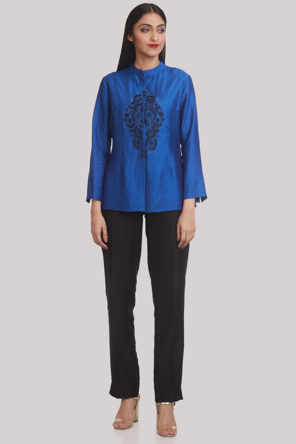 Royal Blue Chanderi Shirt With Silk Embroidery