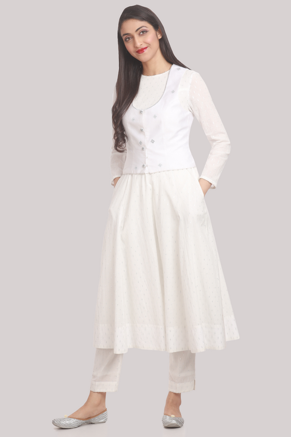 White Chanderi Gilet with 18 Panel Cotton Kurta Jacket Pants Set
