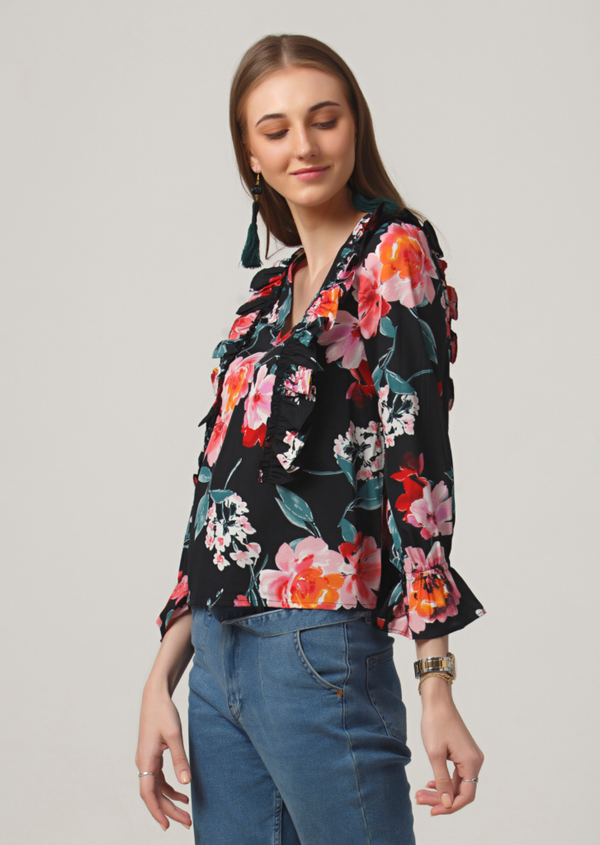 Black Floral Parallel Ruffle Top