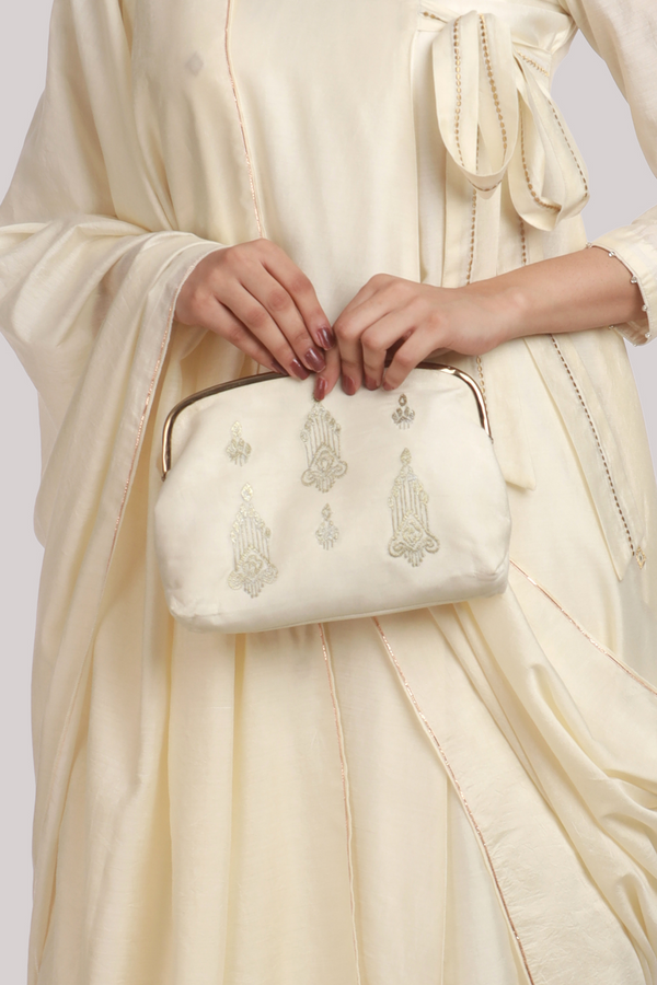 Antique White Vintage Zari Embroidery Chanderi Pochette