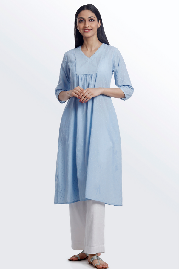 Pastel Blue Flared Kurta