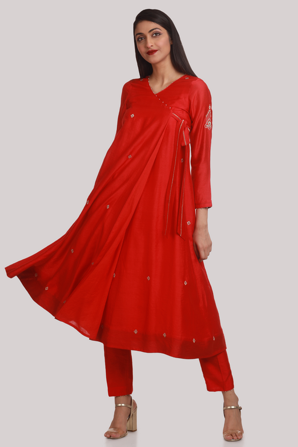 Vermillion Red Angrakha Set