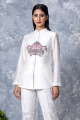 Peacock Embroidery Chanderi Shirt - White