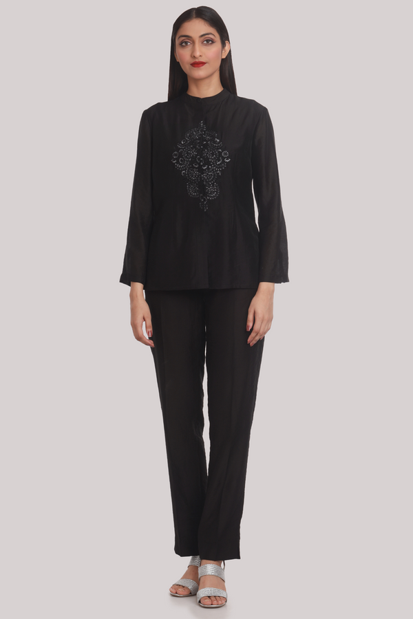 Black Chanderi Shirt With Silk Embroidery