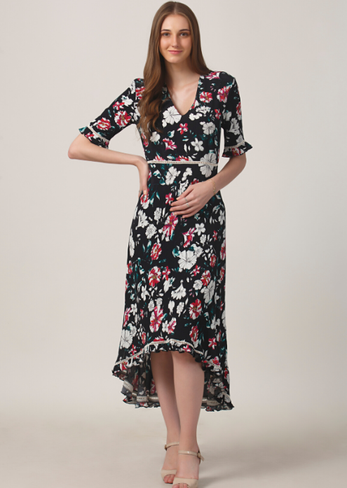 Black Flora High Low Dress