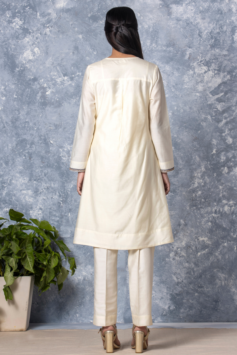 Peacock Embroidery Chanderi Kurta - Antique White