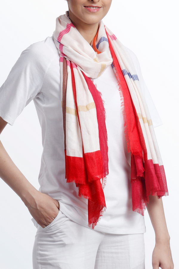 Diamond Weave Stripes Scarf - Red