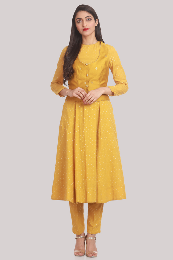 Mustard Chanderi Gilet with 18 Panel Cotton Kurta Jacket Pants Set