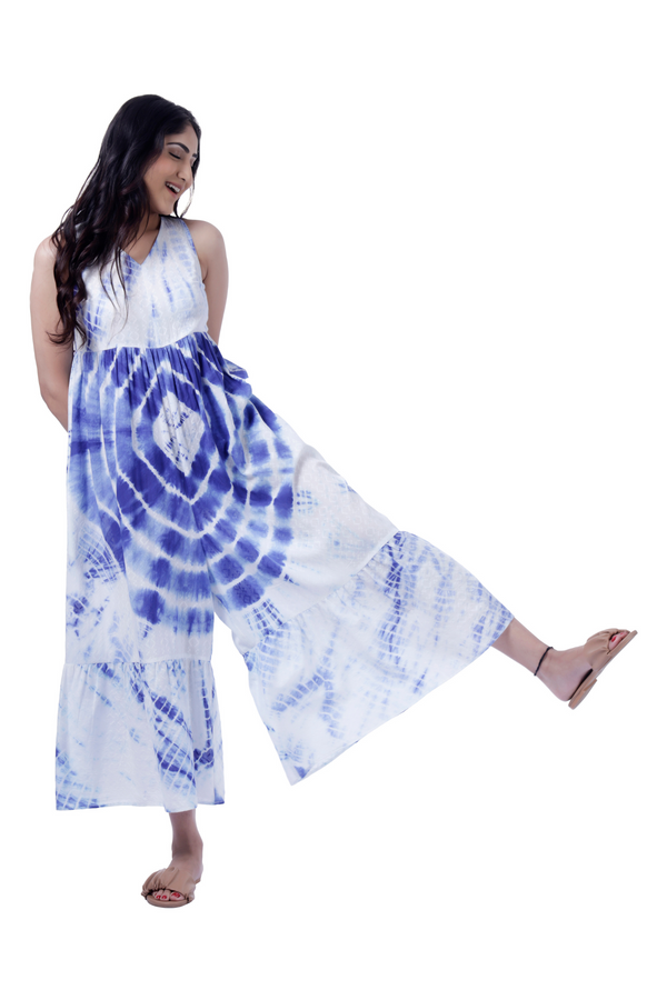 Tie Dye Blue Jumpsuit - Cotton