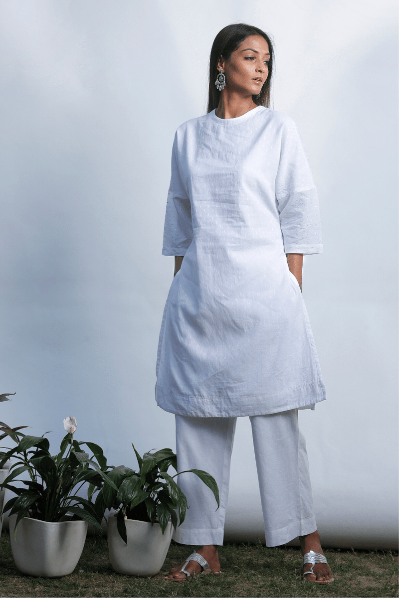 Lily White Drop Shoulder Kurta