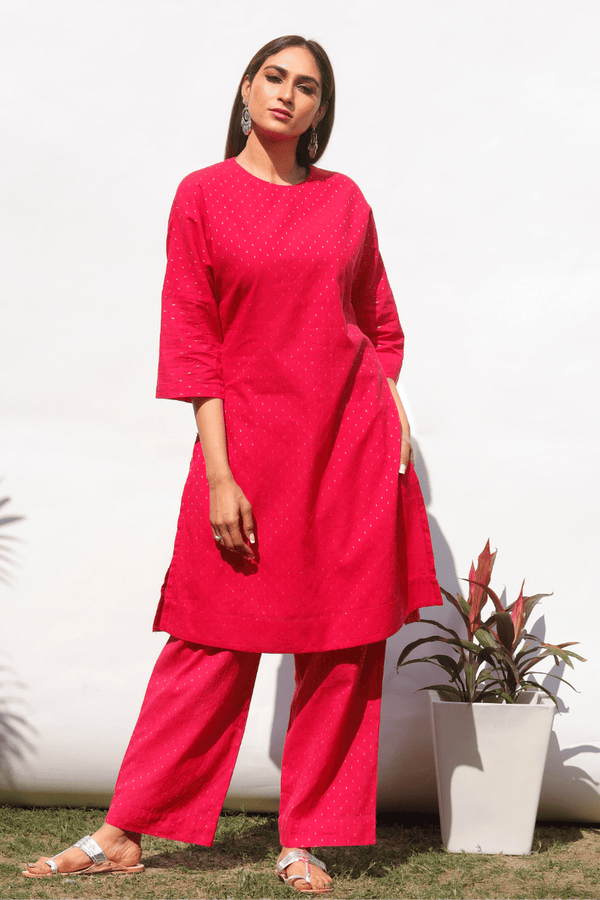 Bougainvillea Drop Shoulder Kurta