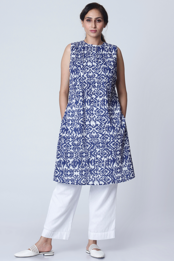 Moroccan Ikat Pleated Kurta - Cotton
