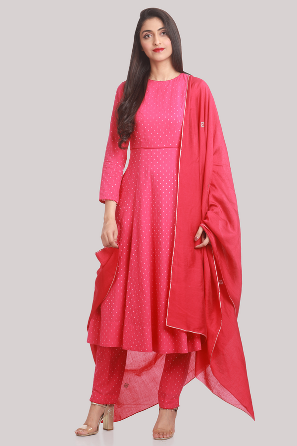 Fuchsia and Gold Minimal Gota-Zari Play Chanderi Dupatta