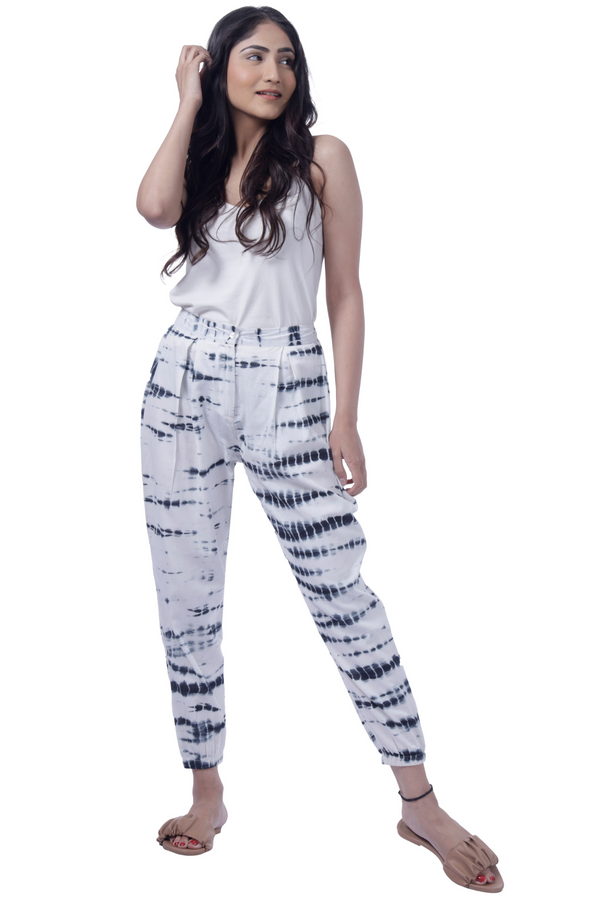 Monochrome Tie Dye Joggers - Cotton
