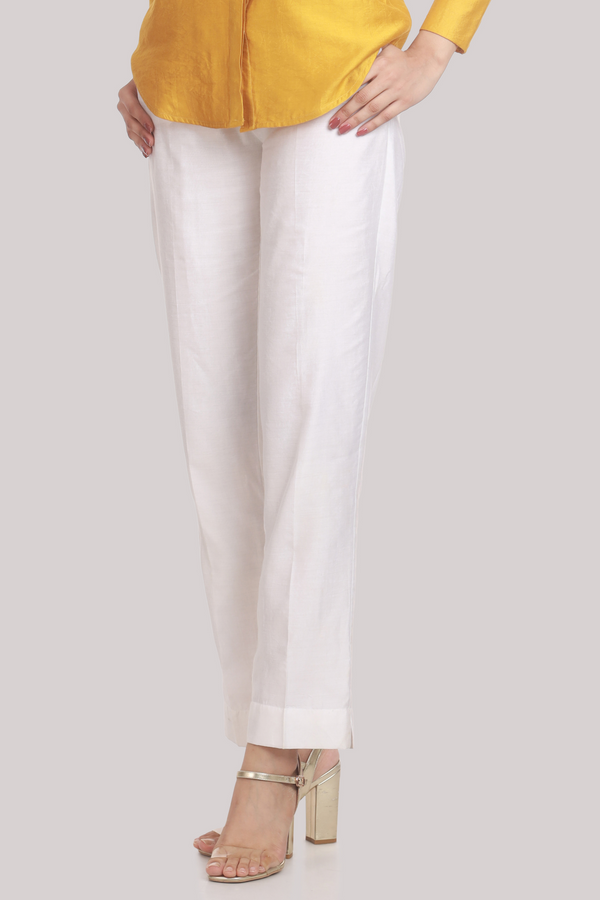 White Chanderi Narrow Bottom Trouser