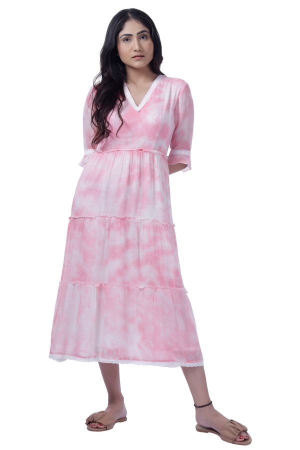 Tie Dye Pink Tiered Dress - Cotton