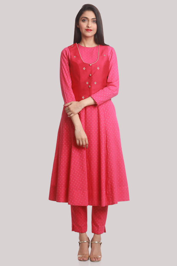 Fuchsia Chanderi Gilet with 18 Panel Cotton Kurta Jacket Pants Set