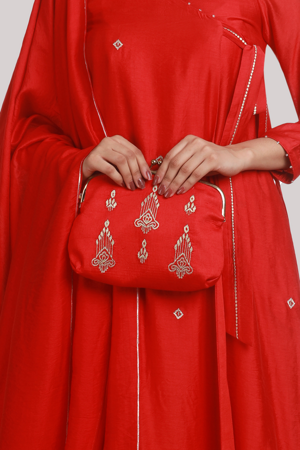 Red Vintage Zari Embroidery Chanderi Pochette