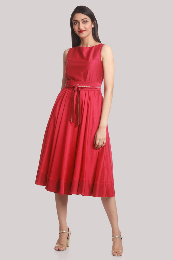 Chanderi OBI Belt Vintage Dress - Fuchsia