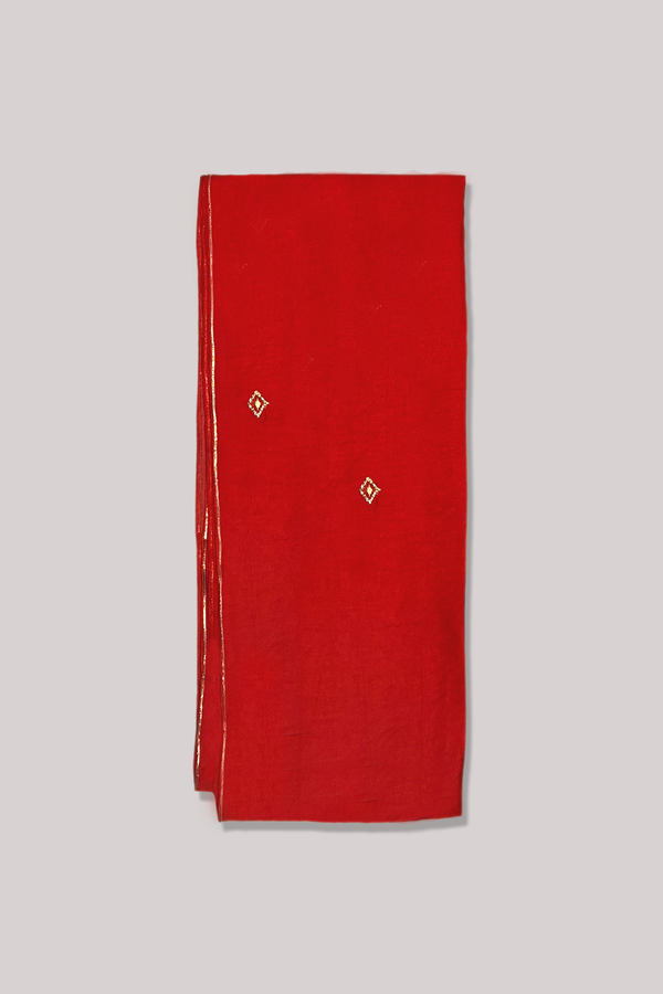 Red and Gold Minimal Gota-Zari Play Chanderi Dupatta