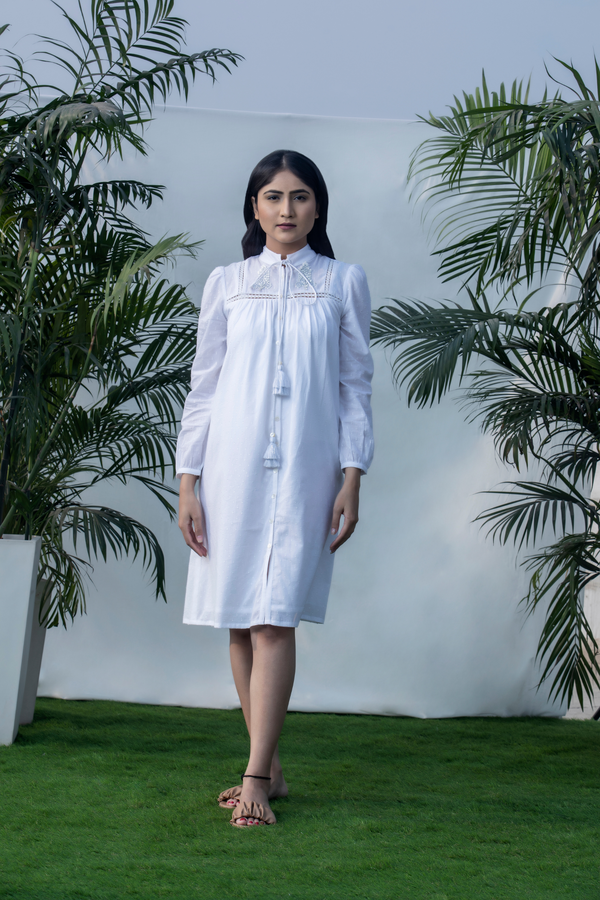 3D Ikat - White Frayed Dobby Shirt Dress