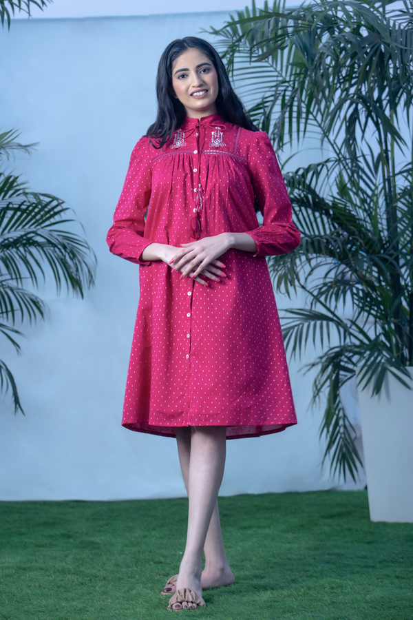 3D Ikat - Bougainvillea Dobby Shirt Dress