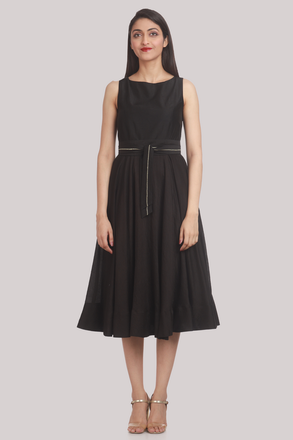 Chanderi OBI Belt Vintage Dress - Black