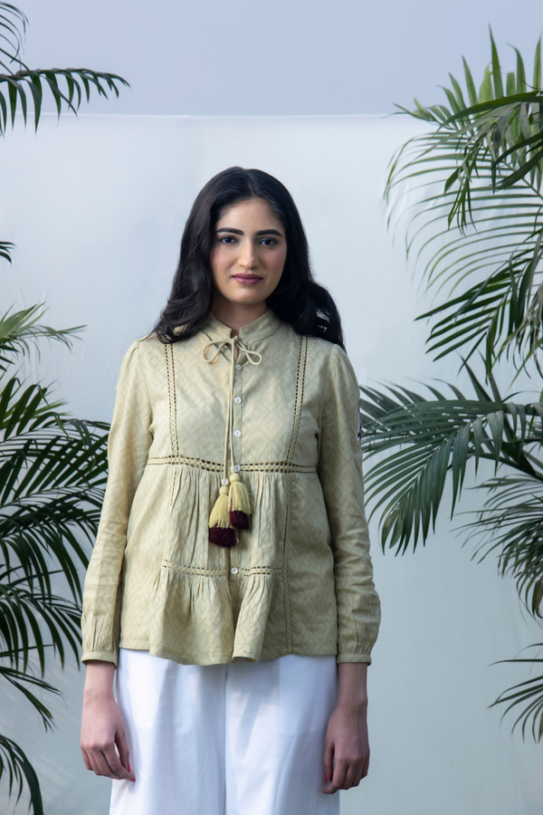 Ikat Embroidery - Moss Green Jaq Panel Shirt