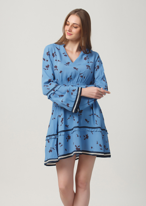 Blue Leaf Print Skater Dress