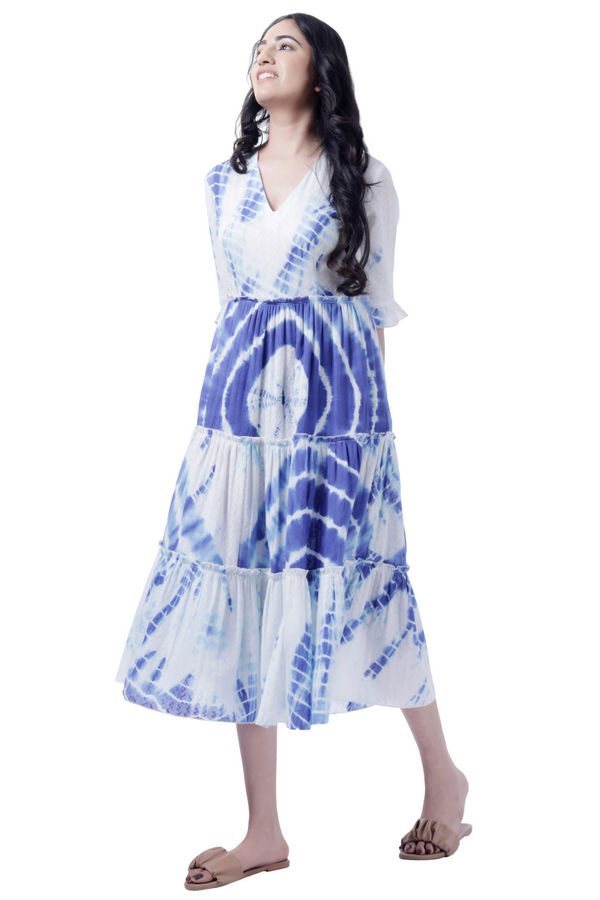 Tie Dye Blue Tiered Dress - Cotton