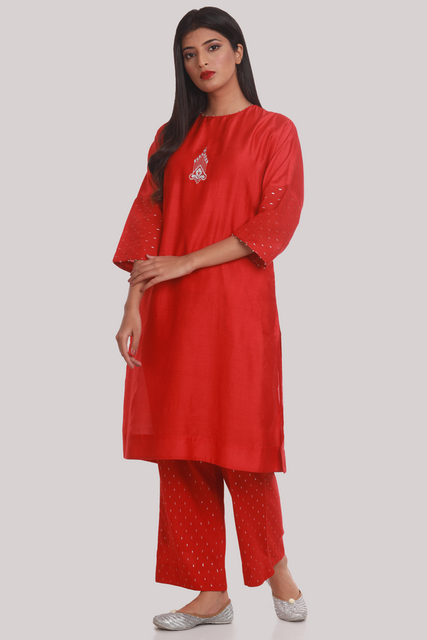 Drop Shoulder Embroidered Chanderi Suit Set - Vermillion Red