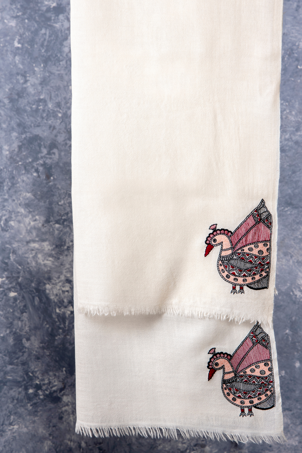 Pure Wool Embroidered Ecru Scarf