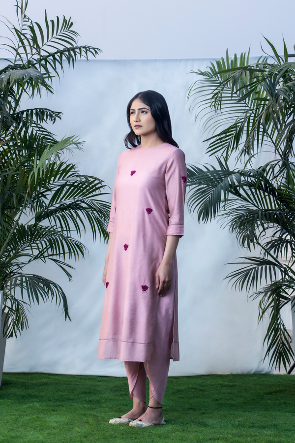 Velvet Lotus - Dust Pink Straight Chanderi Kurta Pants Set