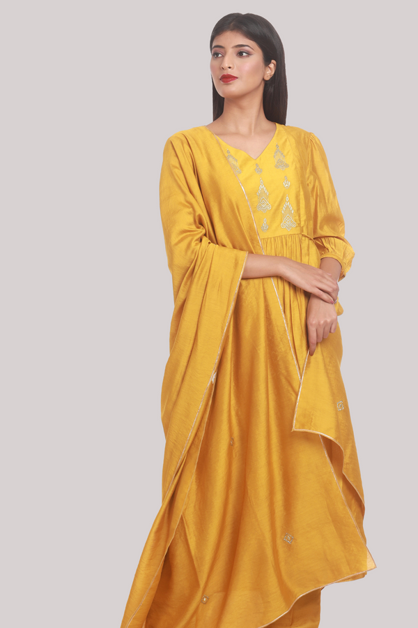 Zari Embroidery Yoke Suit Set Chanderi - Mustard
