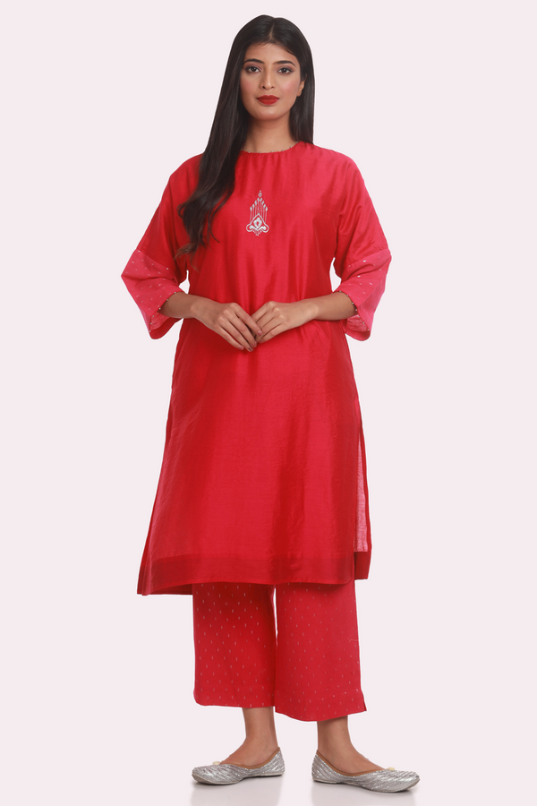 Drop Shoulder Embroidered Chanderi Suit Set - Fuchsia