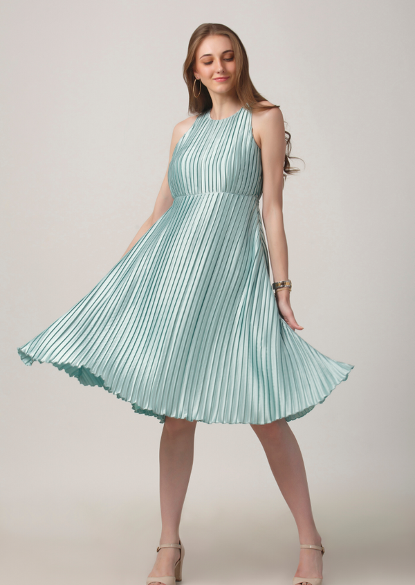 Aqua Shine Pleated Dress